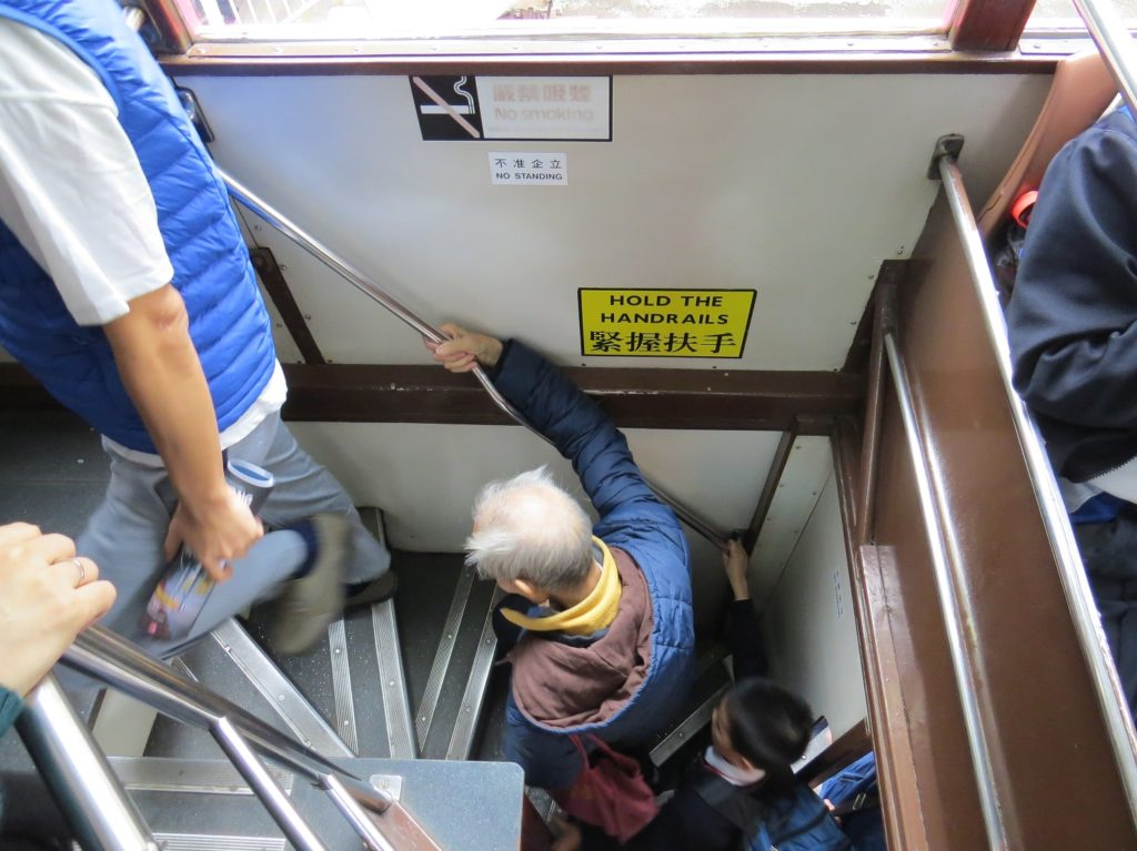 Escalier du tramway à Hong Kong