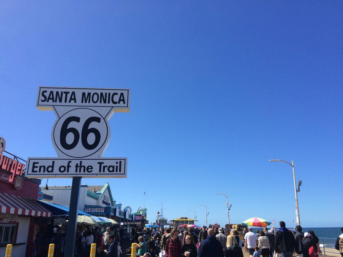 Panneau route 66 à Santa Monica