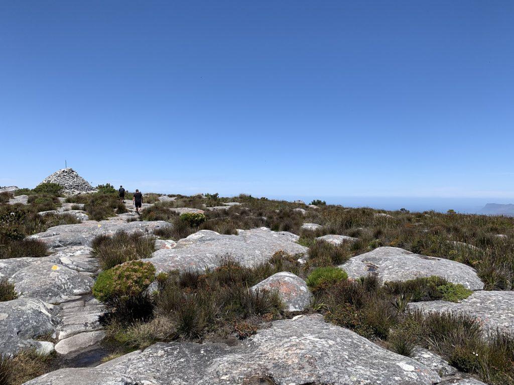 En haut du plateau de Table Mountain